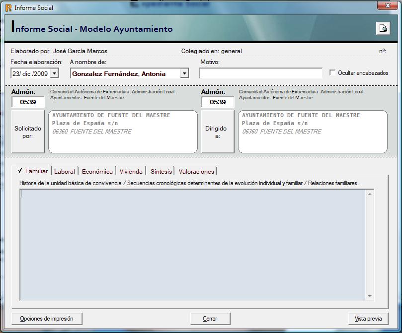 Software para Servicios Sociales » Informe Social Modelo Ayuntamiento