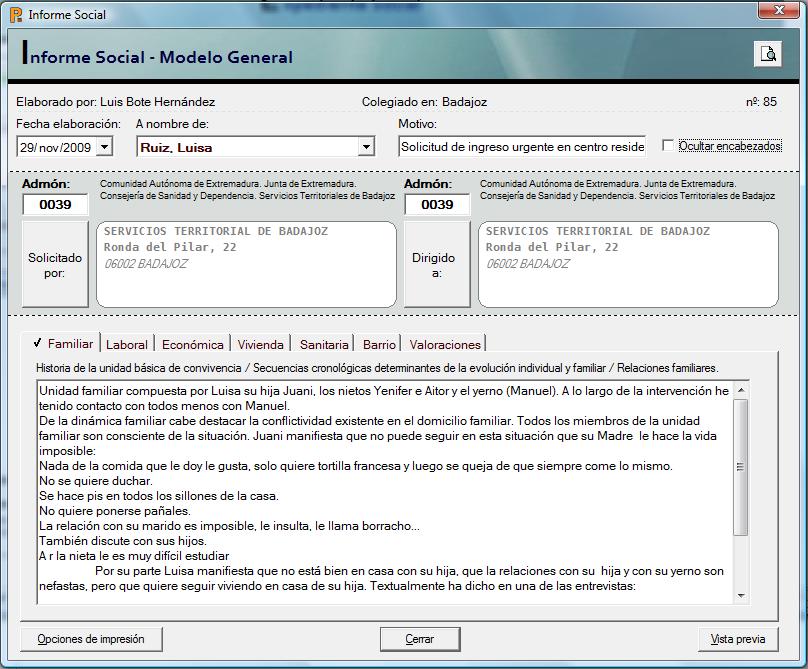 Software para Servicios Sociales » Informe Social Modelo General